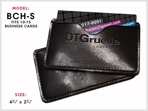 BCH-S Leather Business Card Holder with Specs