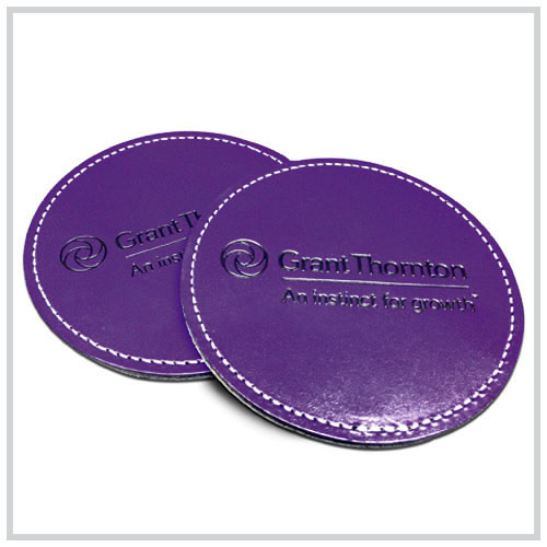 blue round leather coaster set 2 two versions
