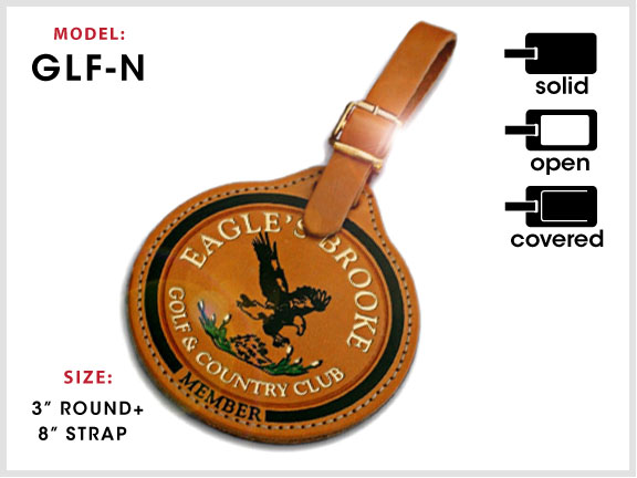 GLF-N Notch-Top Leather Golf Tag with Specs