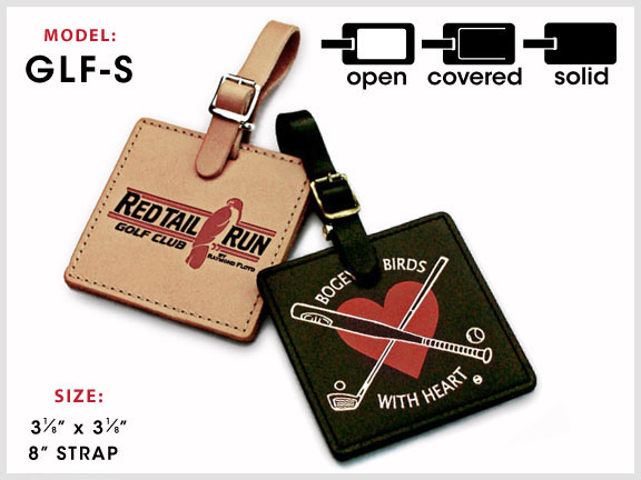 GLF-S Square Leather Golf Tag with Specs