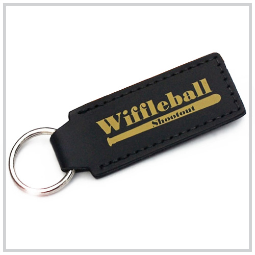 black leather key chain with gold deboss imprint