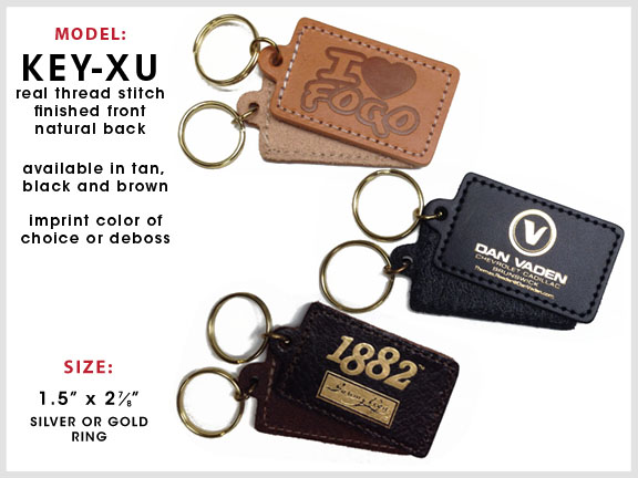 KEY-XU Rectangular Leather Key Chain [Rectangle] with Specs