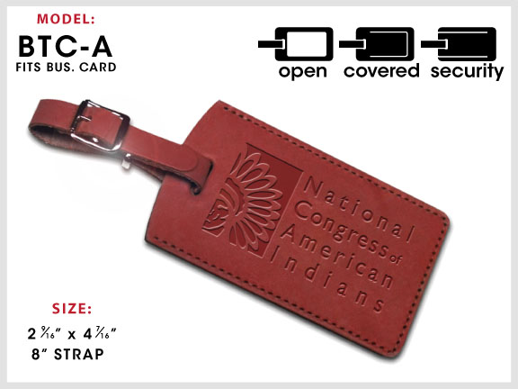 BTC-A Leather Luggage Tag with Specs
