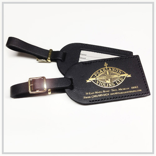black luggage tag gold imprint