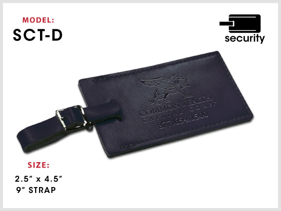 SCT-D Large Leather Luggage Tag [ID Tag / Security Tag] with Specs